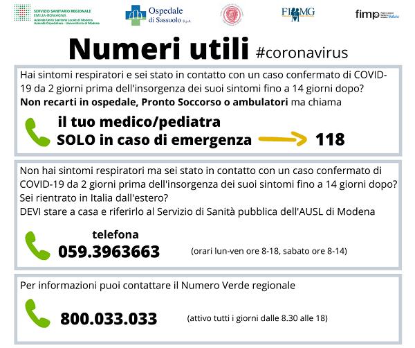 Numeri utili Covid 19